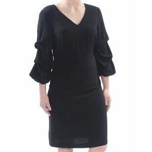 DKNY Black V-neck Ruched Sleeve Cocktail Dress